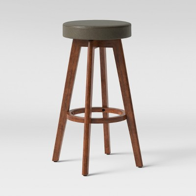Banning Modern Round Swivel Barstool Espresso Faux Leather - Project 62™