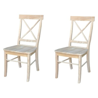 Set of 2 X Back Chairs with Solid Wood Seat Unfinished - International Concepts