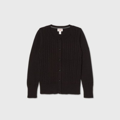 Girls' Crew Neck Cable Knit Uniform Cardigan - Cat & Jack™ Black