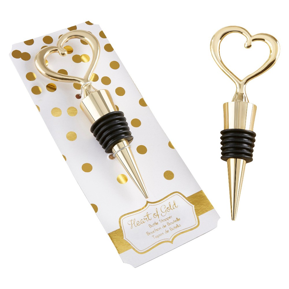 Kate Aspen Gold Heart Bottle Stopper, Multi-Colored