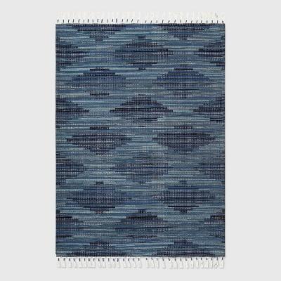 5' x 7' Diamond Tassel Outdoor Rug Blue - Opalhouse™