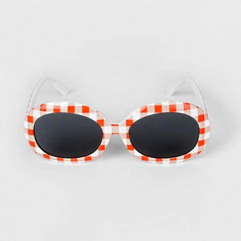 Toddler Girls' Gingham Sunglasses - Cat & Jack™ Coral - image 1 of 2