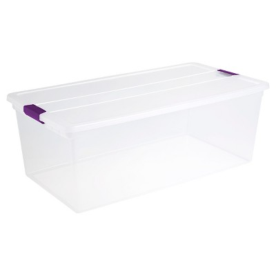 Sterilite® ClearView Latch Storage Bin Clear with Purple Latch 27.5gal