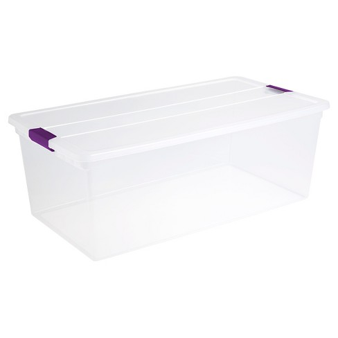 Sterilite® ClearView Latch Storage Bin Clear with Purple Latch 27.5gal - image 1 of 4