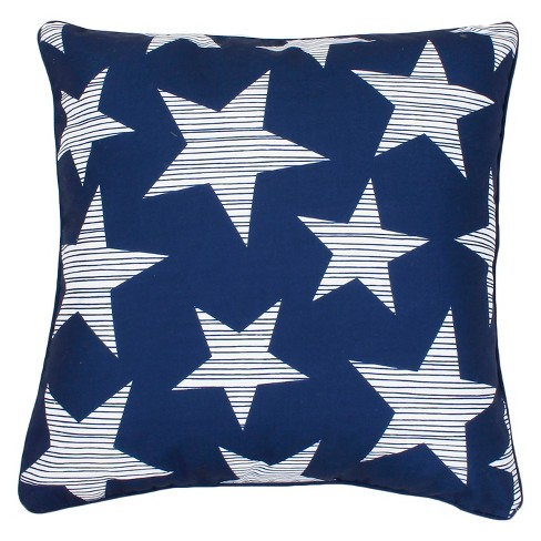 "Dcor Therapy 20""x20"" Star Spangled Throw Pillow Blue/White - image 1 of 1"