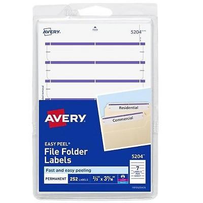 """Avery Easy Peel Laser/Inkjet File Folder Labels 2/3"""" x 3 7/16"""" Purple 537829"""
