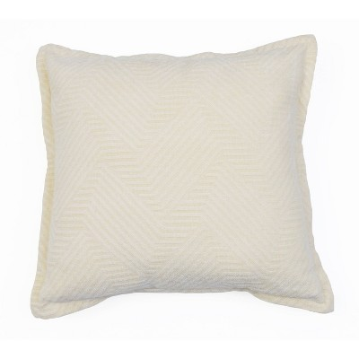 """18""""x18"""" Rhea Woven Cotton Pillow Ivory - Décor Therapy"""