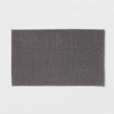 "24""x40"" Low Chenille Memory Foam Bath Rug Dark Gray - Threshold™"