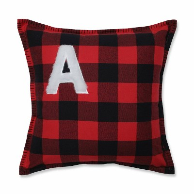 "17""x17"" Buffalo Plaid 'A' Throw Pillow Red/Black - Pillow Perfect"