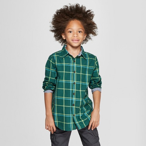 Boys' Long Sleeve Button-Down Shirt - Cat & Jack™ Dark Green - image 1 of 3
