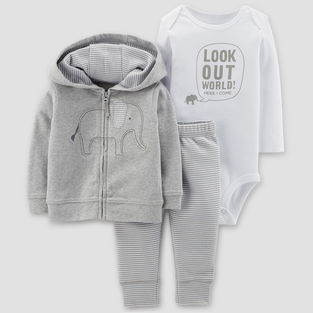 Baby Boys' Elephant 3pc Set - Just One You made by carter's Gray 12M