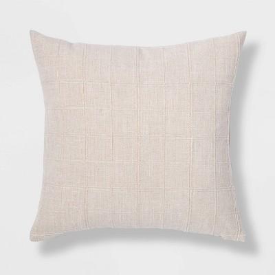 Woven Washed Windowpane Square Pillow Cream - Threshold™