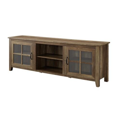 70 Farmhouse Wood Glass Door Tv Stand Rustic Oak Saracina Home