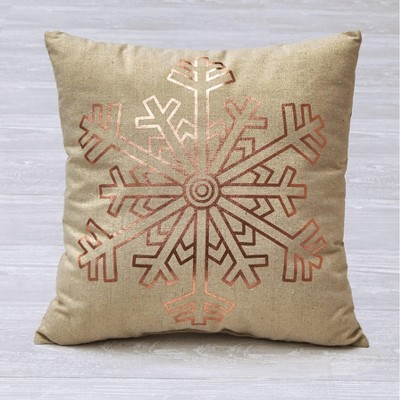 Lakeside Golden Snowflake Image Decorative Accent Throw Pillow - Holiday Accent