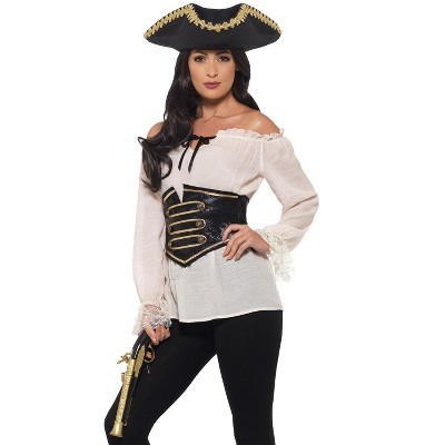 Smiffy Deluxe Pirate Shirt Adult Costume (Ivory)