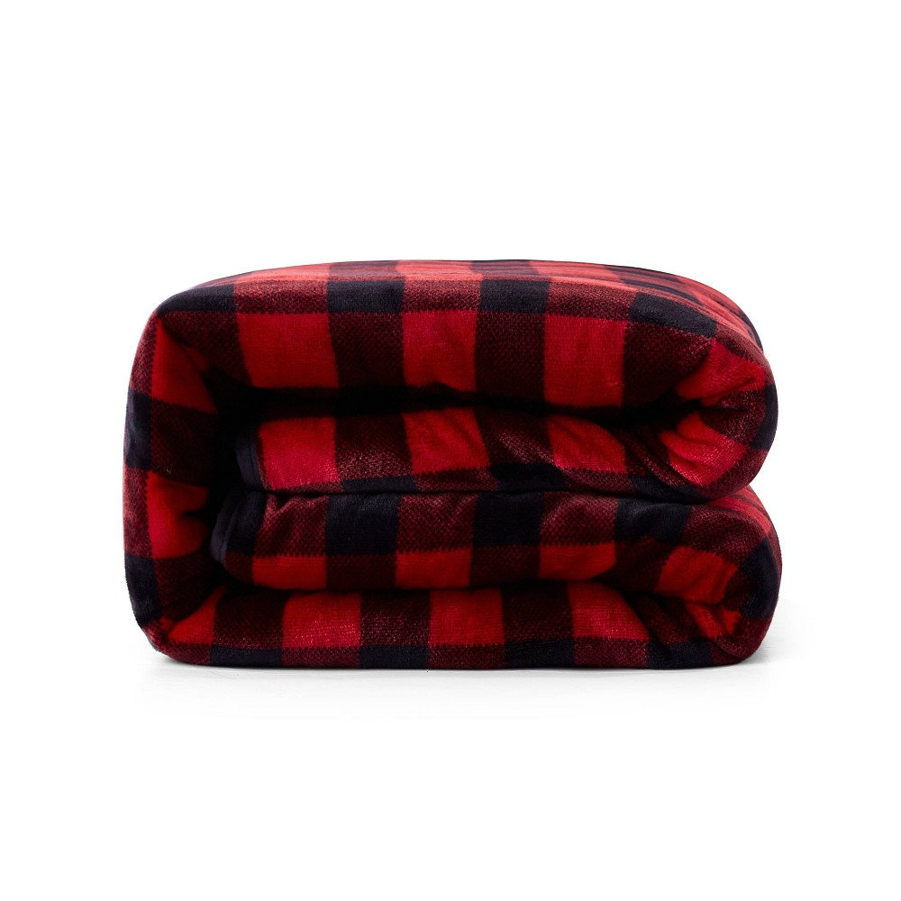 Image of Deer Applique Shiny Velvet Reversible to Sherpa Weighted Throws Buffalo Red - Rejuve