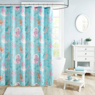 "72""x72"" Livia Printed Mermaid Shower Curtain Aqua/Pink"