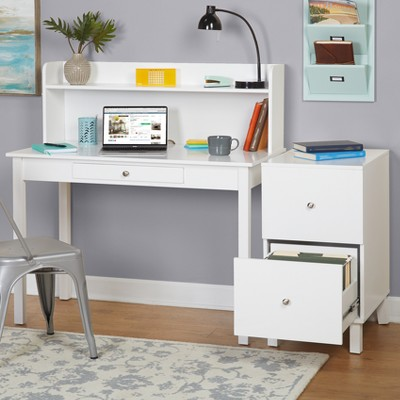 Foster Desk With Hutch And Filing Cabinet Set   White   Buylateral : Target
