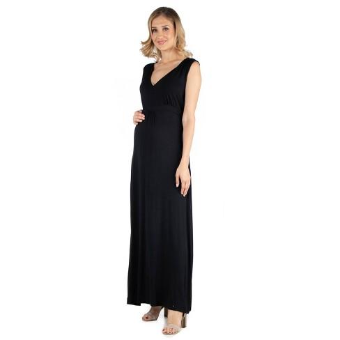 24seven Comfort Apparel Women's Maternity V Neck Sleeveless Maxi Dress - image 1 of 3