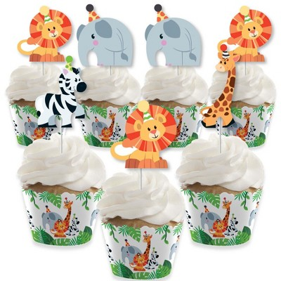 Big Dot of Happiness Jungle Party Animals - Cupcake Decor - Safari Animal Birthday Party or Baby Shower Cupcake Wrappers & Treat Picks Kit - Set of 24