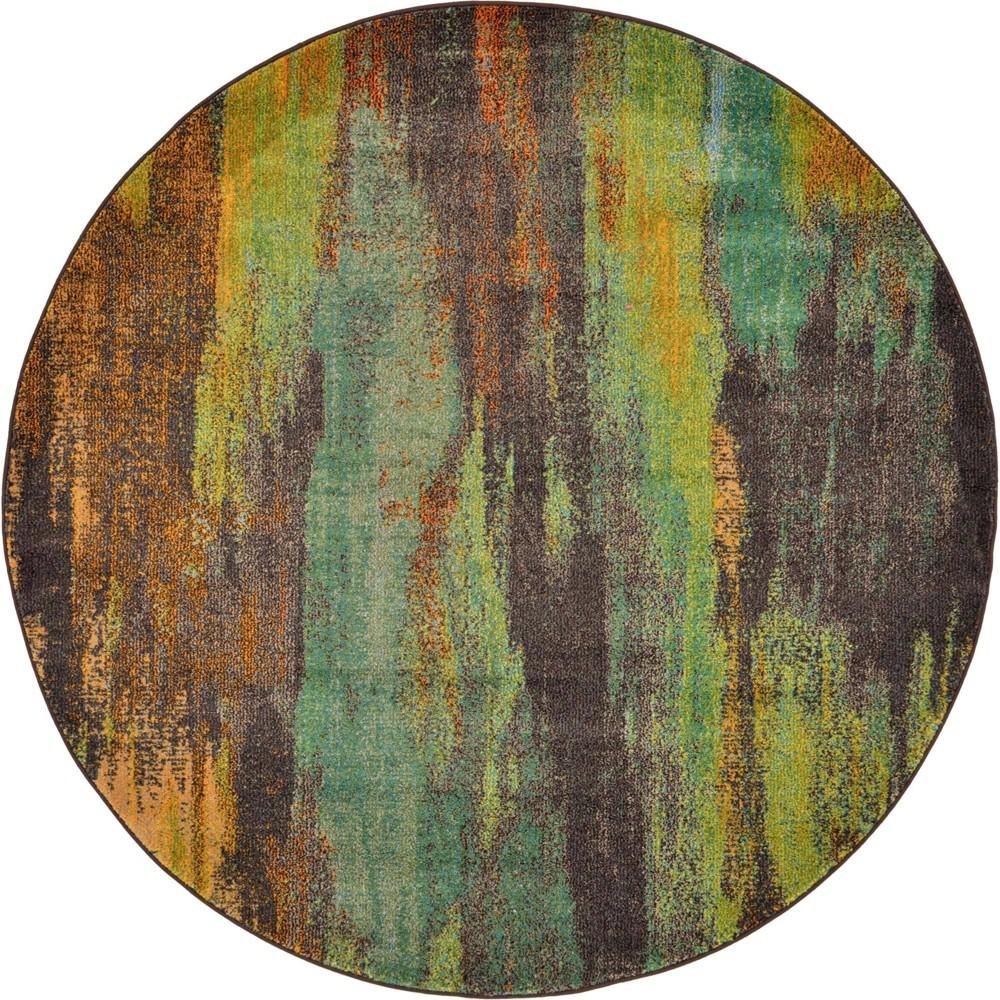 6 39 Round Lilly Jardin Rug Orange Unique Loom