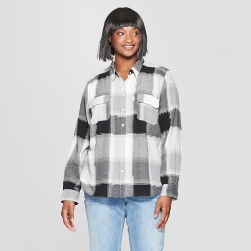 d2767eda Women's Plus Size Plaid Long Sleeve Flannel Shirt - Universal Thread™ Black