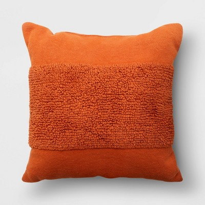 """18""""x18"""" Modern Tufted Square Throw Pillow Rust - Project 62™"""