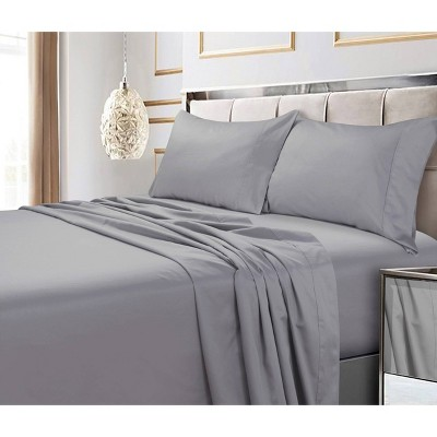 King 4pc 600 Thread Count Deep Pocket Solid Sheet Set Silver Gray - Tribeca Living