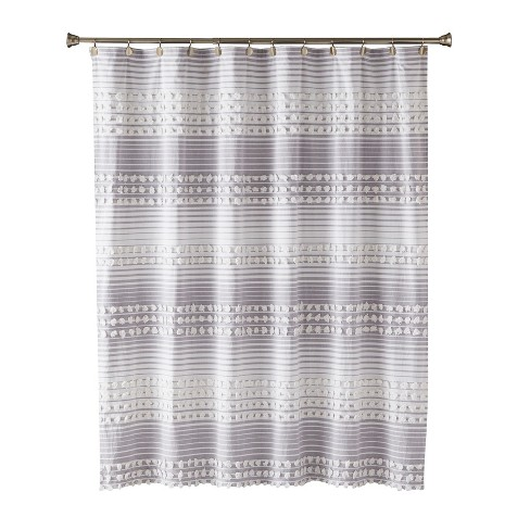 Puffed Stripe Shower Curtain Silver