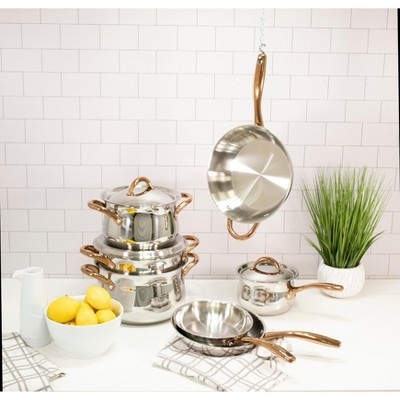BergHOFF Ouro Gold 11Pc 18/10 Stainless Steel Cookware Set, Rose Gold Handles, Metal Lids