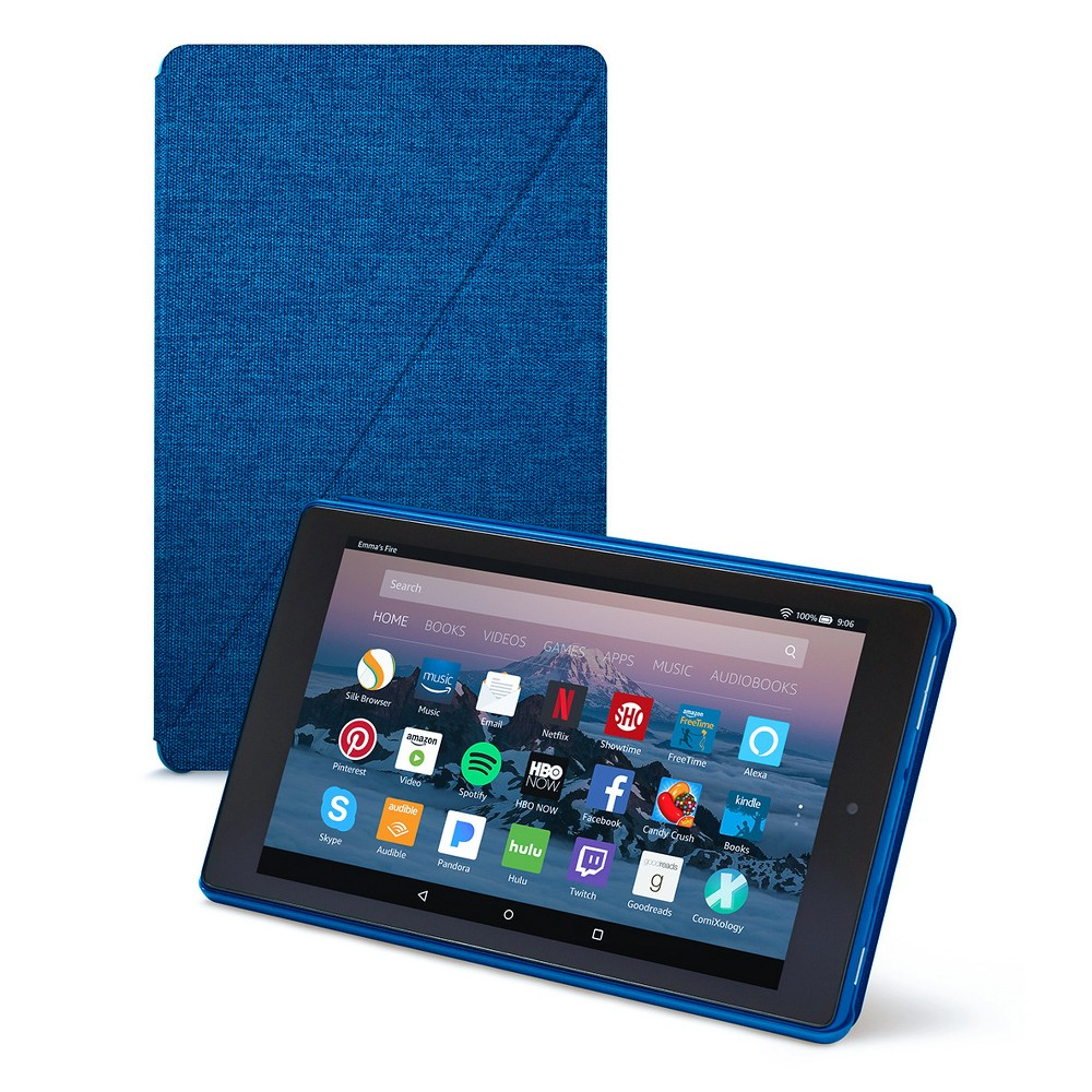 Amazon Fire HD 8 Tablet Case (7th Generation, 2017 Release) - Marine Blue Protect your Amazon Fire HD 8 from dents and scratches and use it with ease with the Amazon Fire HD 8 Tablet Case (7th Generation, 2017 Release) by Amazon Fire is just what you need. Featuring a slim design, it comes with a built-in stand which allows for hands-free viewing in both portrait mode and landscape mode. With auto wake and sleep functionality, the vibrant woven polyester fabric case with magnetic closure helps keep the cover securely shut while, a microfiber interior helps protect your screen. Color: Marine Blue.