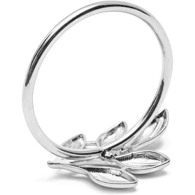 Set of 12 Metal Leaf Silver Napkin Rings Holder for Dinner Table Wedding Event, 1.8 inches