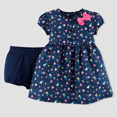 Baby Girls' Floral Dress Set - Just One You® made by carter's Navy - image 1 of 2
