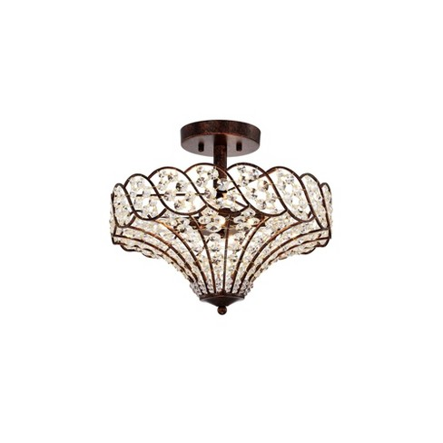 Maica 4 Light Abstract Crystal, Semi Flush Mount Chandeliers