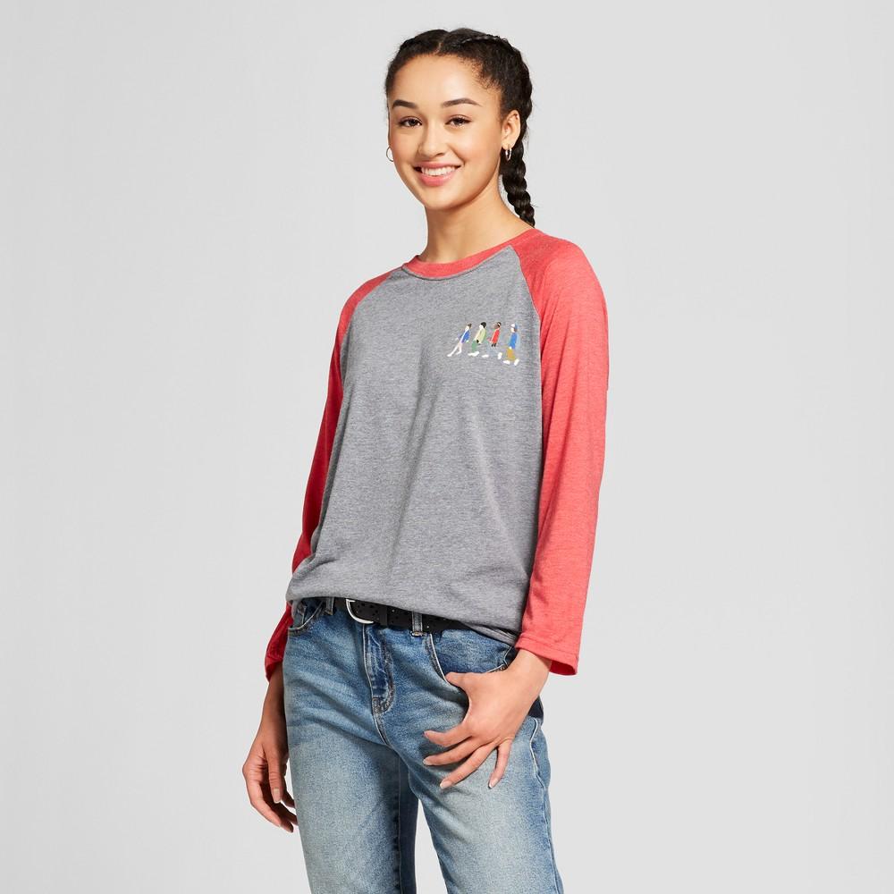 Women's Stranger Things Character Walking Raglan 3/4 Sleeve T-Shirt (Juniors') - Gray/Red XL