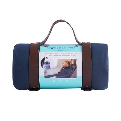 "40""x50"" Solid Microfiber Weighed Travel Throw Blue - Bon Voyage"