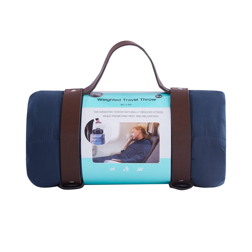 """Image of """"40""""""""x50"""""""" Solid Microfiber Weighed Travel Throw Blue - Bon Voyage"""""""