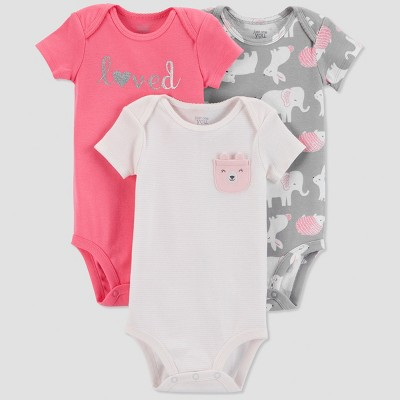 Baby Girls' 3pk Love Bodysuit - Just One You® made by carter's Pink/Gray Newborn