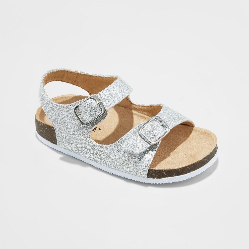 Toddler Girls' Tisha Footbed Sandals - Cat & Jack Silver 9