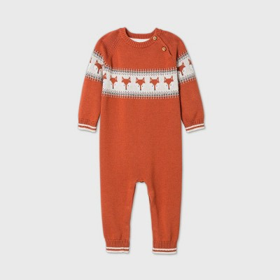 Baby Boys' Fox Fairisle Romper - Cat & Jack™ Orange Newborn