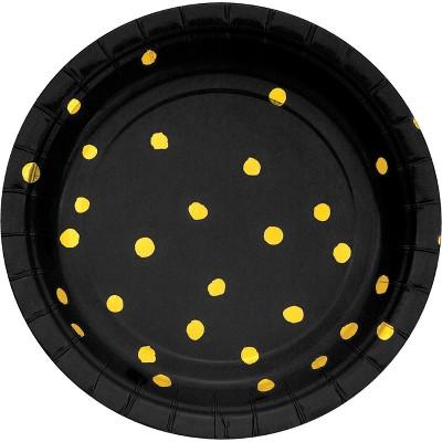 24ct Black and Gold Foil Dot Dessert Plates Black