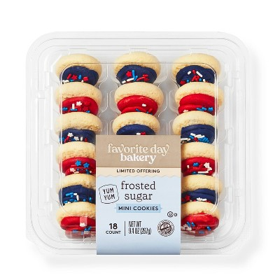 Red & Blue Mini Frosted Sugar Cookies - 18ct - Favorite Day™