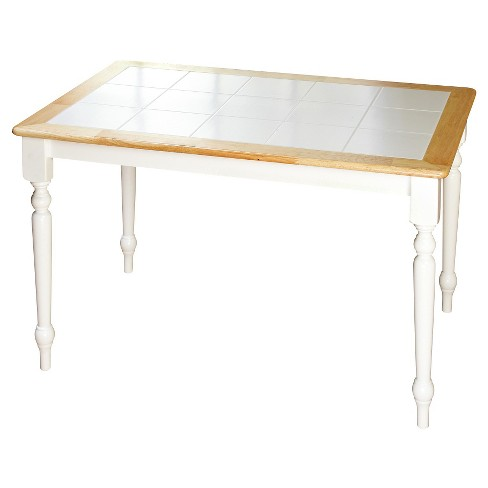 Tara Tile Top Dining Table White/Natural - TMS - image 1 of 2