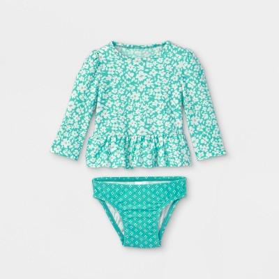 Baby Girls' 2pc Floral Rash Guard Set - Cat & Jack™ Green