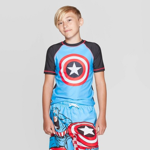 Boys' Marvel Captain America Rash Guard - Gray/Blue L - image 1 of 3