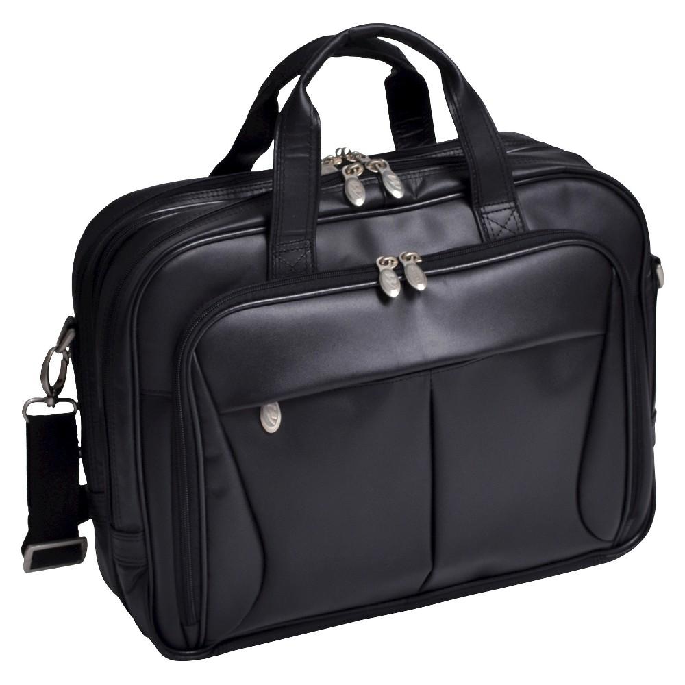 McKlein Pearson 17 Leather Expandable Double Compartment Laptop Briefcase (Black)