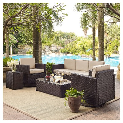 palm harbor 5pc all weather wicker patio sofa conversation set w rh target com