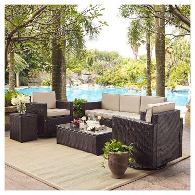 Palm Harbor 5pc All Weather Wicker Patio Sofa Conversation Set W/Swivel  Chairs   Crosley