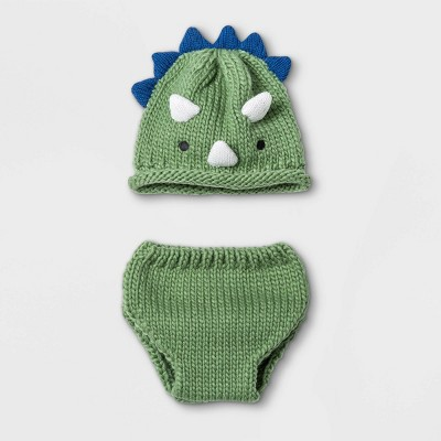 Baby Boys' Dino Hat and Diaper Cover Set - Cloud Island™ Green One Size