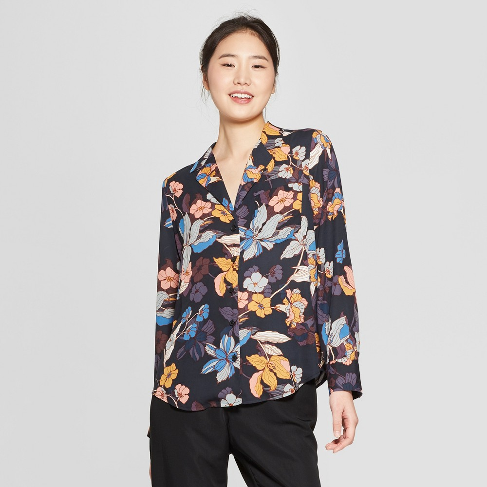 Women's Floral Print Long Sleeve V-Neck Button-Up Shirt - Who What Wear Black/Pink XS, Pink/Blue Floral